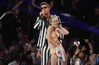 Robin Thicke and Miley Cyrus performing 'Blurred Lines' at the MTV Video Music Awards. Photo / AP
