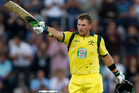 Australia's Aaron Finch celebrates getting a century, 100 runs, during their Twenty20 cricket match at The Ageas Bowl cricket ground in Southampton. Photo / AP