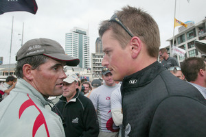 Russell Coutts (left) and Dean Barker after his team won the America's Cup. Photo / Kenny Rodger