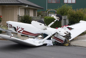 The Cessna 152, which collided in mid-air with a helicopter, lies where it came to rest. Photo / Mark Mitchell