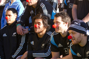 All Blacks, from left, Aaron Smith, Steven Luatua, Ben Smith and Tawera Kerr-Barlow don red noses in support of child cancer sufferers.