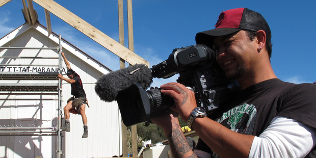 Screentime cameraman Ngarangi Tipene-Leach at the filming of  Maori Television's Marae DIY makeover show. The channel is expected to name a new chief executive this week.