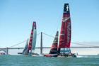 Team New Zealand run race drills with rival Luna Rossa ahead of the America's Cup showdown with Team USA.  Photo / Chris Cameron