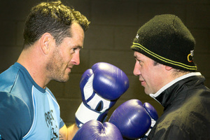 Luke Ottley and Mike Chaffey buildup to the Battle for Life boxing event. Photo / Warren Buckland
