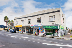 The block of five leased-up shops for sale at 693-701 Mt Eden Rd feature accommodation on the second level.