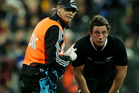 All Blacks first-five Tom Taylor has been ruled out for three weeks with a rib injury following last night's 27-16 win over Australia in Wellington. Photo / Getty Images.