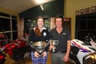 Ladies winner Brydie Hodge, of Levin, and overall champion Lachie McDonald of Marton after the 2013 Keown Honda Wanganui Open.PHOTO/SUPPLIED