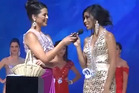 Joanlia Lising gets awkward during the Miss Philippines USA 2013 Beauty Pageant. Photo / YouTube