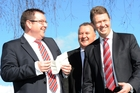 Grant Robertson, Shane Jones and David Cunliffe in Levin yesterday. Photo / SNPA