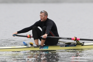 Mahe Drysdale is trying to regain the rowing fitness he lost during his sabbatical. Photo / Christine Cornege