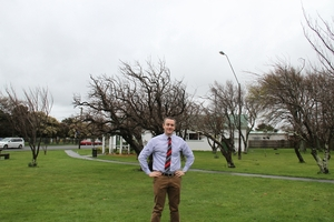 HERE OR THERE? South Wairarapa District Council candidate David Montgomerie says this area could be an alternative place for a new town square in Featherston.PHOTO/VOMLE SPRINGFORD