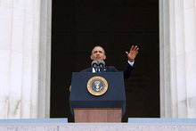 Barack Obama speaks on the steps of the Lincoln Memorial. Photo / AP