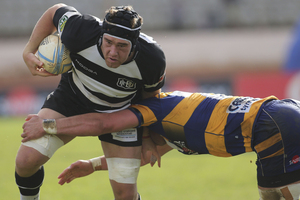 Michael Allardice of Hawkes Bay is tackled during the round two ITM Cup match between the Bay Of Plenty and Hawke's Bay at Bay Park Stadium. Photo / Getty Images.