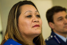 Ivoni Fuimaono the mother of Halatau Naitoko, at a press conference with Assistant Commissioner Allan Boreham. Photo / Richard Robinson.