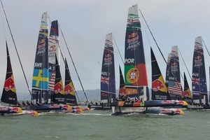 The youth regatta, which features 10 teams from eight different countries, started in San Francisco yesterday with two fleet races.