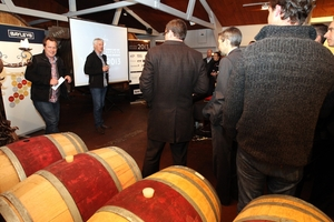 LAST DROP: Rod McDonald and Tony Bish speaking at the Barrel Room at Vidal Winery Restaurant, before entries for the year's regional wine awards close next week. PHOTO/PAUL TAYLOR HBT132754-02