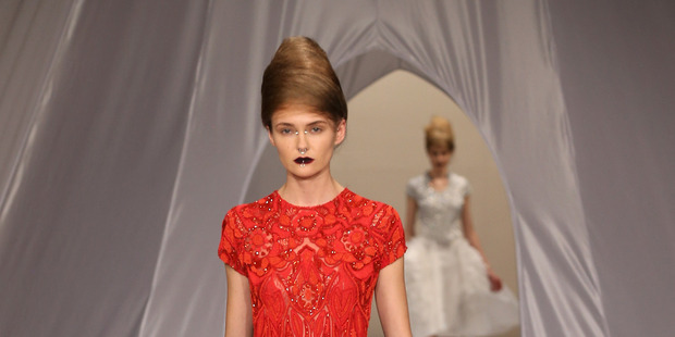 Park Avenue princesses beautifully combined with punk piercings at Trelise Cooper. Photo / Getty Images