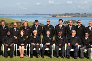The line-up of (mostly) male leaders at the last forum in Auckland in 2011 - and not much has changed, especially for Pacific women. Photo / Greg Bowker