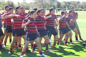 Rotorua Boys' High School perform the haka at the National Secondary Schools Rugby League Tournament.