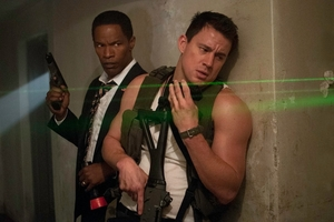 Jamie Foxx and Channing Tatum in White House Down.