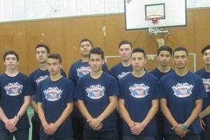 LONG SHOT: The Peowhairangi senior boys basketball team are in Rotorua contesting a national basketball tournament this week. From back left are Xavier Thompson, Te Kauri MacPherson, Rewi MacPherson, Zsar Lawrence, Rushon Taylor Breljvich, Tyrell May; (front) Te Kopa Henare, Levi Quitta, Hoani Bracken-Rogers, Santana Neho.PHOTO/SUPPLIED