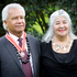 Emeritus Professor Albert Wendt (L) and his partner, Reina Whaitiri, after he was presented with the Order of New Zealand at an investiture ceremony. Photo / NZ Herald