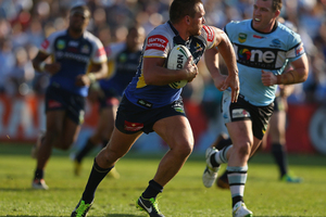 Joel Riethmuller of the Cowboys runs the ball during the round 25 NRL match between the Cronulla Sharks and the North Queensland Cowboys. Photo / Getty Images.