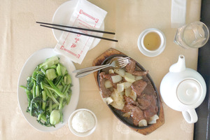 Combination Chinese vegetables with garlic sauce and fillet beef with honey black pepper sauce.Photo / Nicky Park