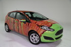 2014 Ford Fiesta dressed as bacon to mark International Bacon Day Aug. 31. Photo / Supplied