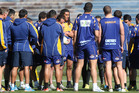 Bay of Plenty Steamers squad in a team huddle at training at the Rotorua International Stadium ahead of Thursday night's ITM cup match against Canterbury in Rotorua. Photo / Ben Fraser