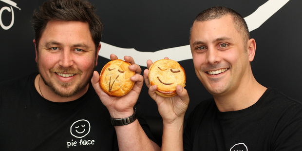 Pie Face master franchise holders Julian Field (left) and Jared Palmer would like to open at least five stores in Auckland's CBD. Photo / Chris Gorman