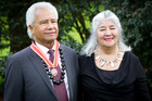 Emeritus Professor Albert Wendtand his partner, Reina Whaitiri, after he was presented with the Order of New Zealand at an investiture ceremony this morning.. Photo / Sarah Ivey