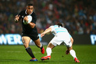 All Blacks new cap Francis Saili looks to get by Argentina's Nicolas Sanchez. Photo / Getty Images