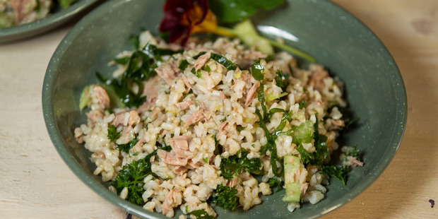 Brown rice tuna and celery salad. Photo / Michael Craig