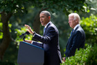 President Barack Obama, with Vice-President Joe Biden, has asked Congress to back his plans. Photo / AP