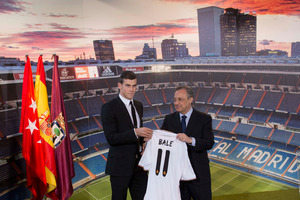 The 85 million pounds Tottenham received from Real Madrid for Gareth Bale was a world record fee. Photo / AP.