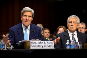 US Secretary of State John Kerry, left, with Defense Secretary Chuck Hagel put the case for military intervention in Syria. Photo / AP