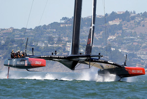 Oracle Team USA foils coming off the start line during training for the America's Cup sailing event. Photo / AP