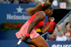 Serena Williams reacts after a point against Li Na, of China, during the semifinals of the 2013 U.S. Open tennis tournament, Friday, Sept. 6, 2013, in New York. (AP Photo/Darron Cummings)