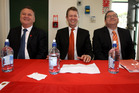 Labour Leadership Election 2013. Labour MPs (from left) Shane Jones, David Cunliffe and Grant Robertson. Photo / Natalie Slade