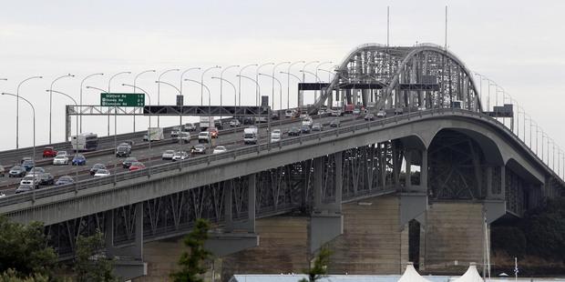 Blacktop Construction worked on the resurfacing of the Auckland Harbour Bridge. Photo / Janna Dixon
