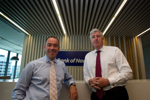 BNZ chief executive Andrew Thorburn (left) with NAB Group chief executive Cameron Clyne. Photo / Brett Phibbs