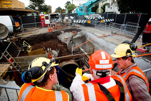 The Watercare pipeline in Onehunga where worker Philomen Gulland was killed. Photo / Dean Purcell