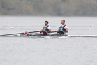 Michael Arms and Robbie Manson have a strong chance of winning a championship medal in the double sculls. Photo / APN