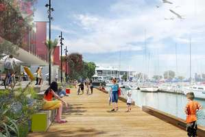 An artist's impression of the Westhaven Marine Centre and promenade; the design is derived from Auckland's historic boatsheds and wharf buildings.
