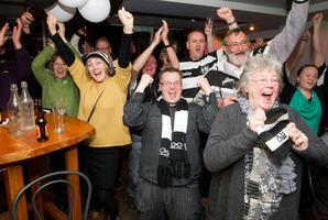 Hawke's Bay Rugby Union supporters, staff and sponsors celebrate at the Gin Trap after the magpies win the Ranfurly Shield in Otago on Sunday evening. Reporter Photo / Glenn Taylor