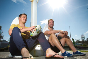 LOCKED UP: Hawke's Bay Magpies locks Michael Allardice, left, and Mark Abbott will be aiming to lock the shield away for another week in the Bay today. Photo / Glenn Taylor