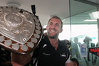 Magpies captain Mike Coman returns to Hawkes Bay in triumph with the Ranfurly Shield. Photo / APN