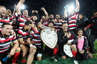 Counties Manukau celebrate lifting the Ranfurly Shield for the first time in the union's 58-year history. Photo / Paul Taylor