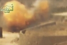 Members of Ahrar ash-Sham, a Islamist rebel group in Syria, blew up on Wednesday a Syrian army tank in Zabadani, a city in southwestern Syria. A video of the operation shows an army tank targeting the cameraman before being hit by an explosion. Credit: Ahrar ash-Sham/NewsPoint